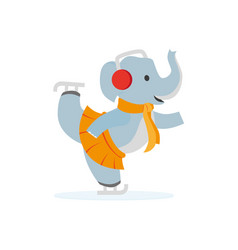 Flat elephant character ice skating vector