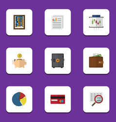 Flat icon finance set of strongbox graph payment vector