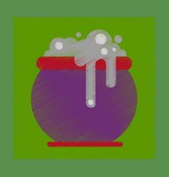 Flat shading style icon halloween witches cauldron vector