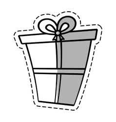 Gift box ribbon package decor linea shadow vector
