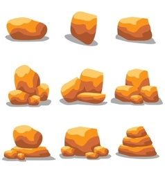 Golden rock set vector
