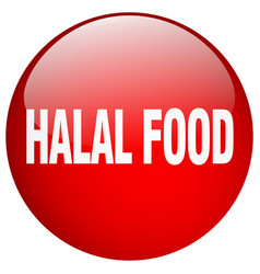Halal food red round gel isolated push button vector
