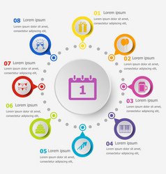 Infographic template with new year icon vector