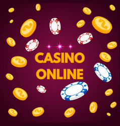 Internet casino lettring with chips and coin vector