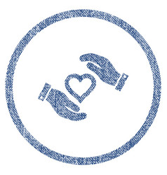 Love heart care hands rounded fabric textured icon vector