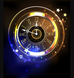 Luminous clock with stars vector