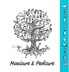 Manicure and pedicure tree concept sketch for vector