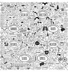 Mega doodle icons set vector image
