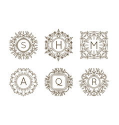 monogram logo and text badge emblem line art vector image vector image