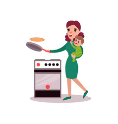 mother baking pancakes with baby in her arms vector image