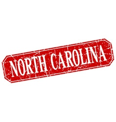 North carolina red square grunge retro style sign vector