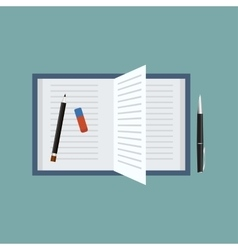 Open book with penpencil and an eraser top view vector