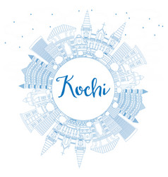 Outline kochi india city skyline with blue vector