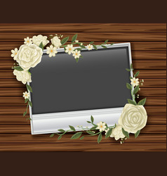 Photoframe with white roses vector