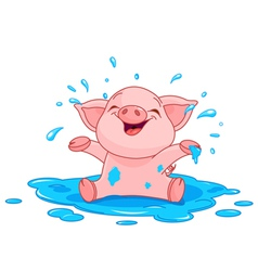 Piggy in a puddle vector image