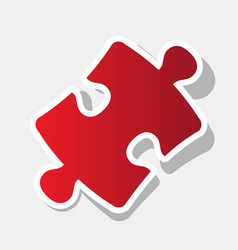 Puzzle piece sign new year reddish icon vector