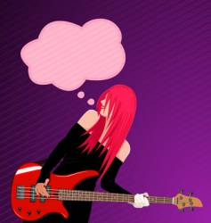 rock girl with speech bubble vector image vector image