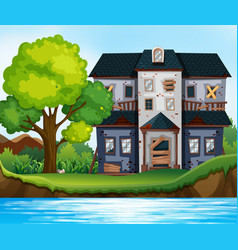 Ruined house by the pond vector
