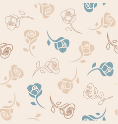 seamless delicate pattern with roses vector image vector image