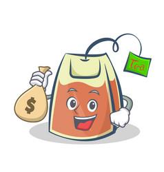 Tea bag character cartoon with money bag vector