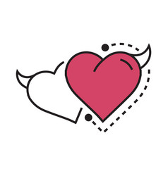 Twins line icon style heart devil pink vector