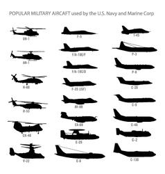 Us modern military aircraft silhouettes vector