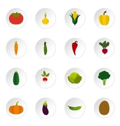 Vegetable icons set flat style vector image