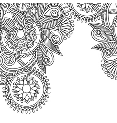 vintage floral ornamental black and white card vector image