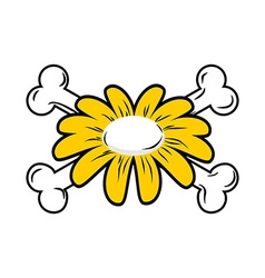 Flower and bone daisy and crossbones symbol flower vector