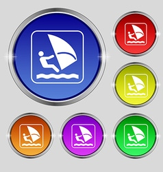Windsurfing icon sign round symbol on bright vector
