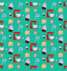 Cupcake and mixer pattern vector