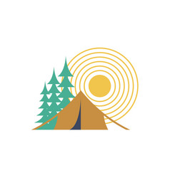 Camping day isolated sun forest and tent vector