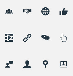 Set of simple social icons elements agreement vector
