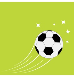 Flying football soccer ball motion trails stars vector