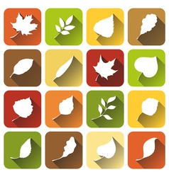 Set of square autumn icons vector