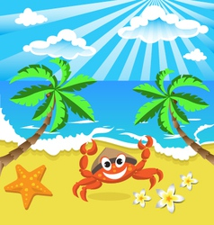 Happy crab in hat with star and flowers vector