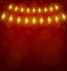 Christmas lights on red vector