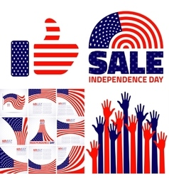 Set of stylish american independence day design vector