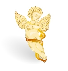 Golden angel with music lyre vector