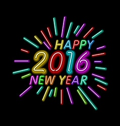 2016 new year outline neon light background for vector