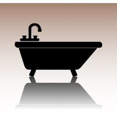 Black bathtub icon vector