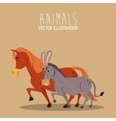 donkey and horse design  graphic  animal vector image