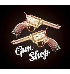 Old revolver handgun cowboy gun vector