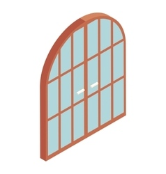 Arched double door icon cartoon style vector