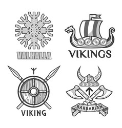 Barbarian and ikings emblems vector