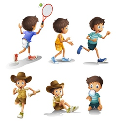 Boys with different activities vector image vector image
