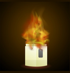 burning paper shopping bag vector image vector image