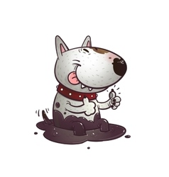 Cheerful cartoon bullterrier vector