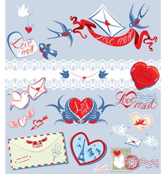 Collection of love mail design elements - birds vector image vector image