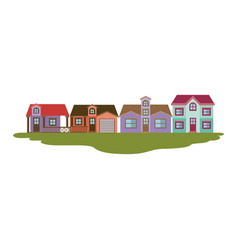 colorful silhouette of country houses several vector image vector image